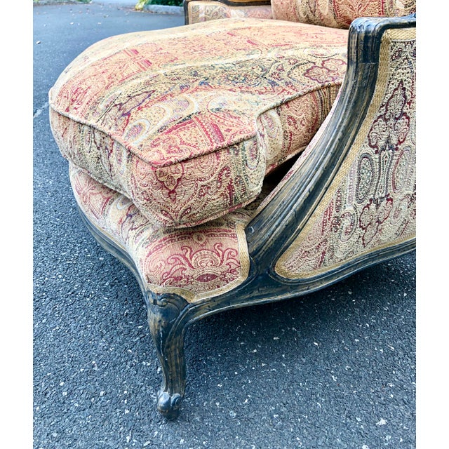 Fabric Vintage French Bergere Chair With Paisley Upholstery For Sale - Image 7 of 13