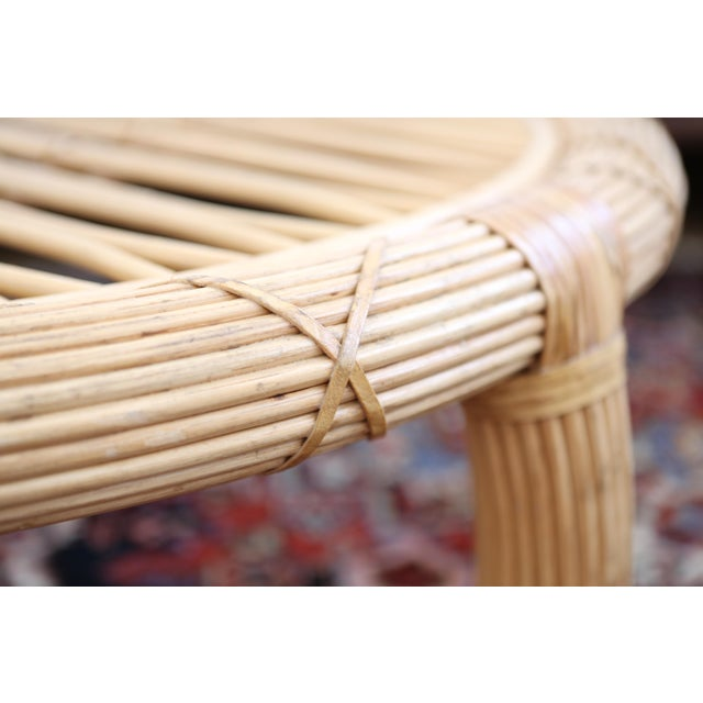 Gabriella Crespi Style Rattan & Bamboo Pencil Reed Coffee Table - Image 10 of 10