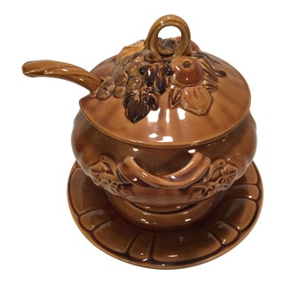 Ceramic Twisted Handle Soup Tureen With Lid, Tureen, Plate and Ladle For Sale