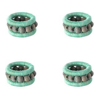 Berry Napkin Rings Turquoise & Peacock - Set of 4 For Sale