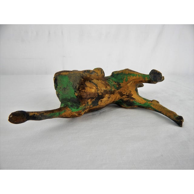 Green Asian Metal Prancing Horse Figure For Sale - Image 8 of 9