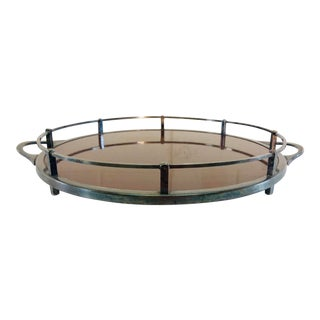Vintage 1960s Round Laminate Handled Serving Tray For Sale