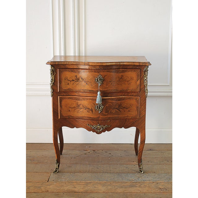 20th Century Louis XV Style Inlay Commode with Bronze Mounts For Sale - Image 13 of 13