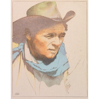 Robin Moore, 'Robert Mitchum', Portrait of the Veteran Hollywood Actor Wearing Stetson & Bandanna For Sale