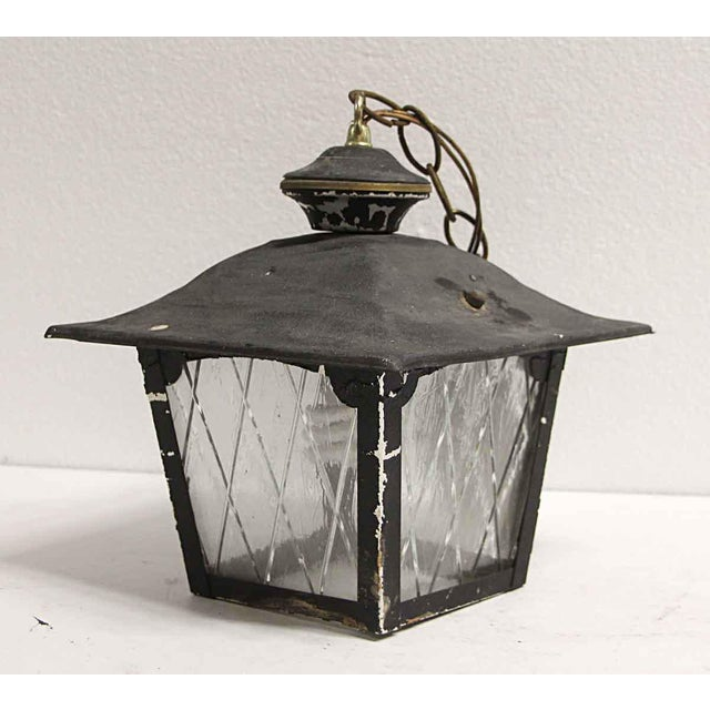Arts & Crafts Arts & Crafts Black Metal & Glass Exterior Ceiling Lantern For Sale - Image 3 of 9