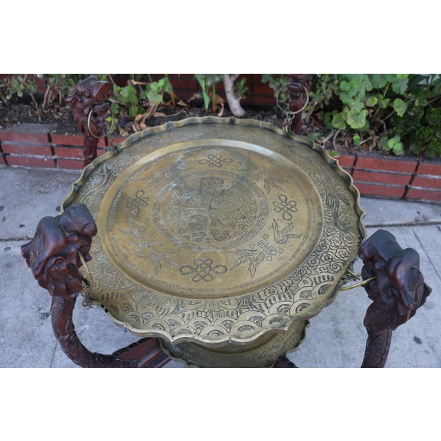 Asian Antique Chinese 2 Tier Brass Center Table For Sale - Image 3 of 12