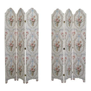 3 Panel Custom Upholstered Room Divider Screens - a Pair For Sale