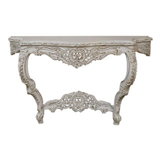 Vintage Shabby Chic Teak Carved Ornate Baroque Style Console Table
