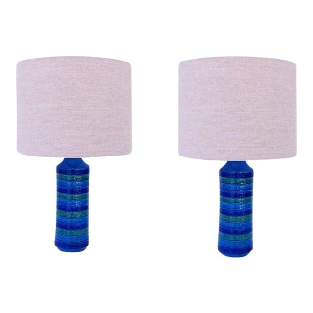 "Italian Ceramic ""Rimini Blue"" Table Lamps by Bitossi - a Pair For Sale"