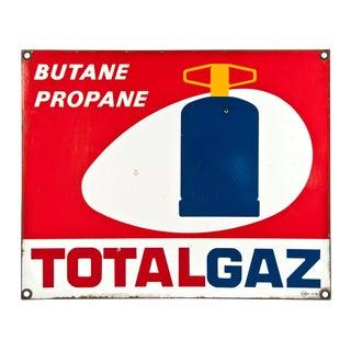 Vintage French Porcelain Enamel Sign - Total Gaz