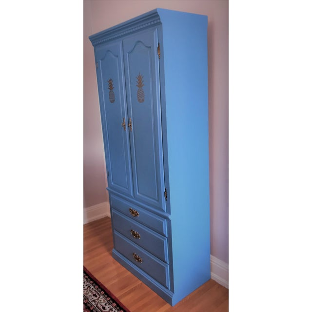 Custom Hand-Painted Blue Wardrobe - Image 4 of 7