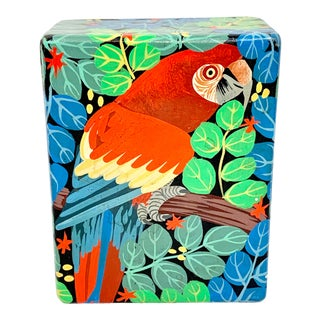 Vintage Hand Painted Wooden Parrot Box For Sale