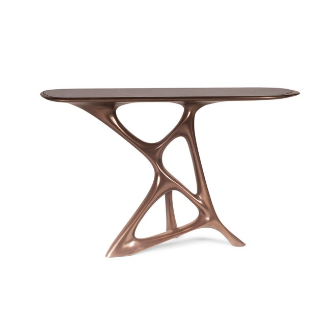 Amorph Anika Console, Bronze Finish With Black Marble For Sale - Image 9 of 9