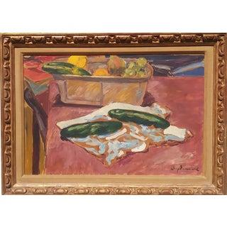 Mid-Century Modern Still Life Painting by Borislav Bogdanovich, Framed For Sale