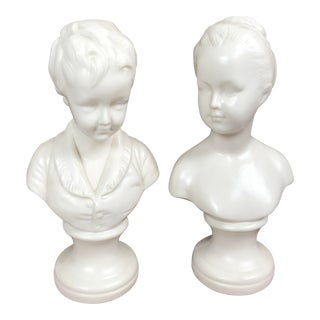 Vintage Napco White Ceramic Boy & Girl Bust Figurines - A Pair For Sale