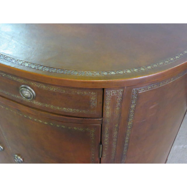 Hollywood Regency Mid Century Tooled Leather Demilune Commode For Sale - Image 3 of 8