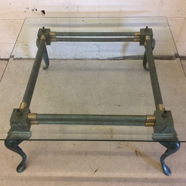 Verdegris Iron Patina and Brass Cabriolet Coffee Table For Sale - Image 9 of 10