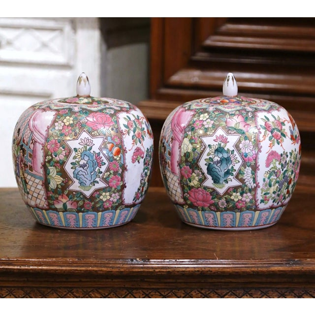 Decorate a console or mantle with this colorful pair of colorful antique melon jars. Created in China, circa 1880, each...