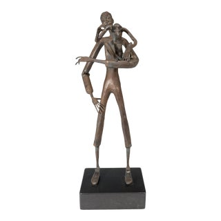 Jean Marc Expressionist Bronze Sculpture of a Man and Monkey on Base For Sale