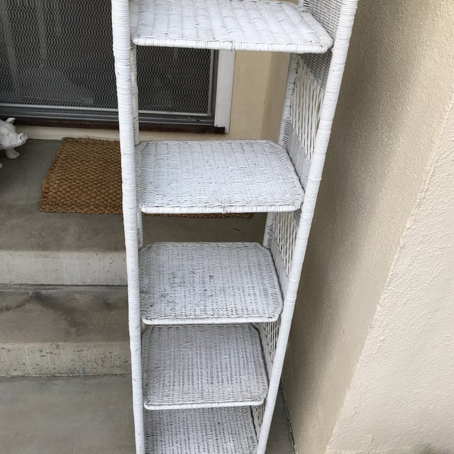 1990s Classic White Wicker Shelf Etagere or Plant Stand For Sale - Image 5 of 10
