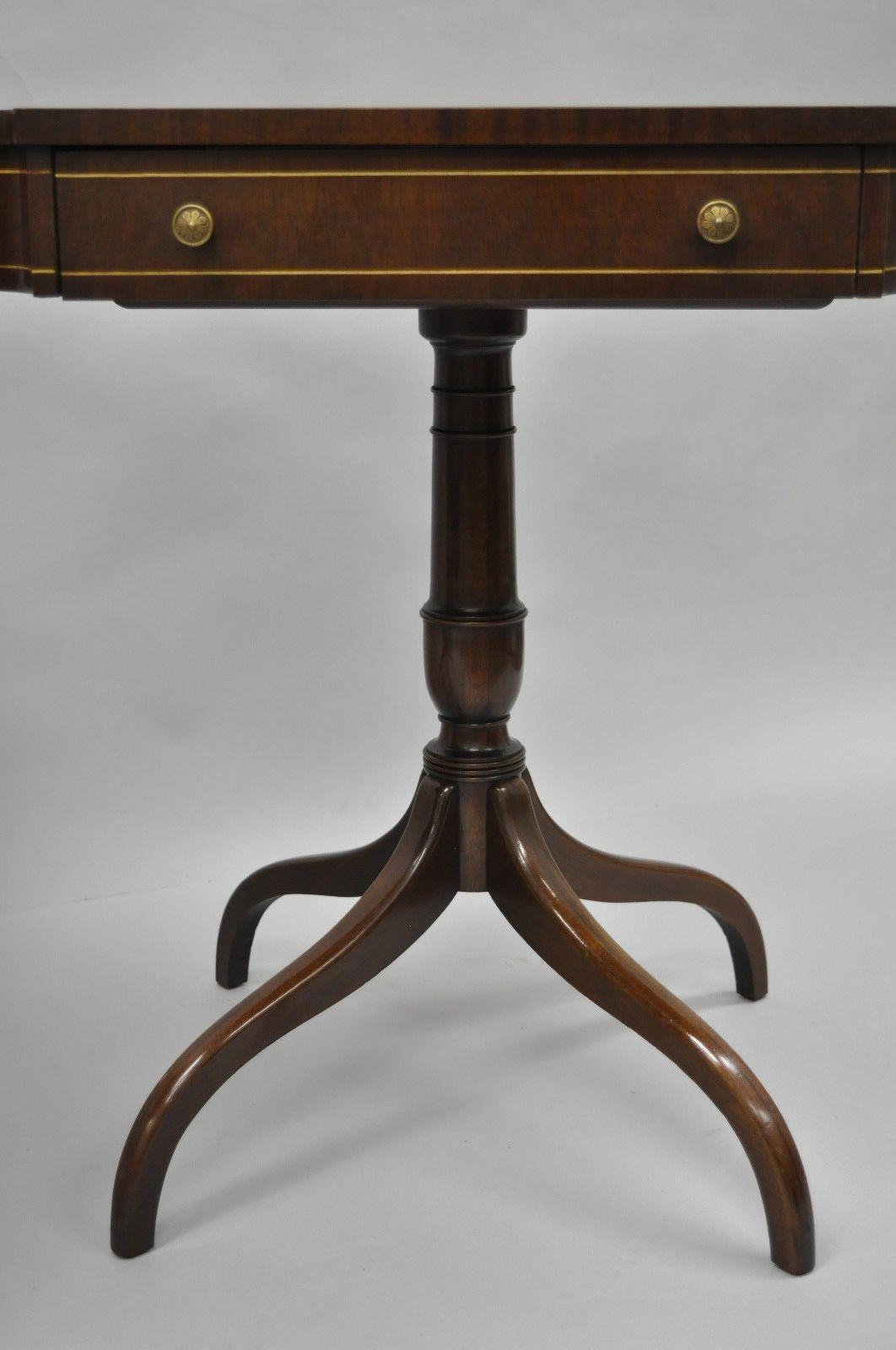Pair Of Mahogany Red Tooled Leather Top End Side Lamp Tables Inlay Regency  Style For Sale