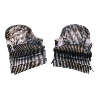 Vintage Mid Century Drexel Hollywood Regency Velvet Tufted Club Chairs- a Pair For Sale