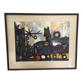 Late 20th Century Vintage Charles 'Dix' Gouache and Watercolor Painting For Sale