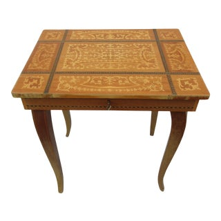 Italian Inlaid Music Box Table With Storage For Sale