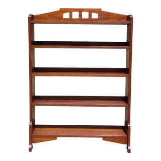 Vintage Mission Style Oak Arched Bookcase Open Shelving Display Unit Bookshelf