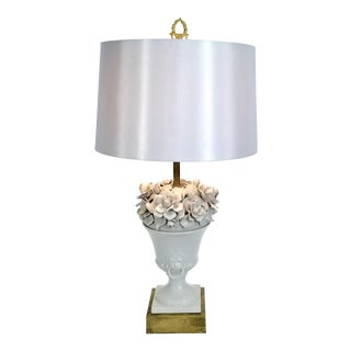 1950s Neoclassical Italian White Porcelain Urn Lamp With Flowers and Lion Heads With Rings - Signed - With Shade For Sale