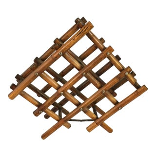 1960s Boho Chic Rattan Folding Wine Rack