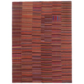 Vintage Mid-Century Turkish Jajim Kilim Striped Area Rug - 8′6″ × 11′7″ For Sale