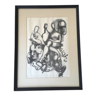 """Vintage Mid-Century Abstract Figural """"Community Meeting"""" Signed, Numbered Lithograph For Sale"""