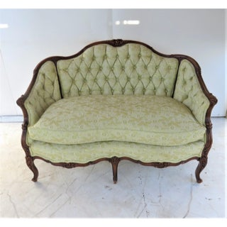 Louis XV Style Light Green Tufted Settee Preview