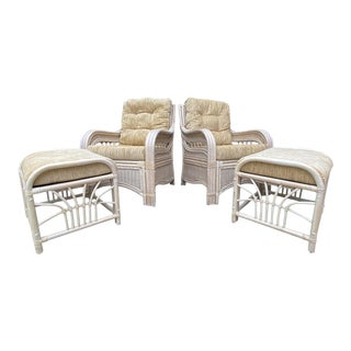 Vintage Whitewash Rattan Lounge Chairs & Ottomans - 4 Pieces For Sale