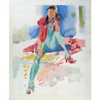 1980s Fashion Watercolor For Sale