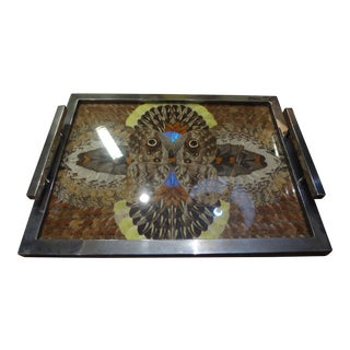 1930's French Art Deco Chrome Tray With Butterfly Wings For Sale