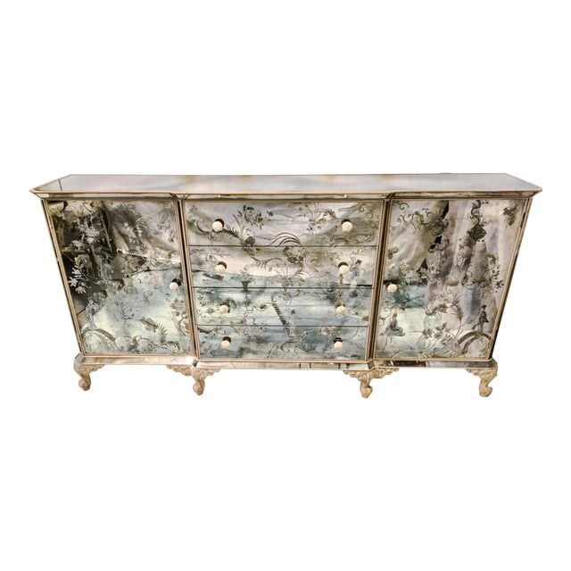1950s Mirrored Chinoiserie Credenza - Image 1 of 10