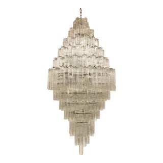 1960s Large Italian Glass Chandelier by Tronchi for Murano For Sale