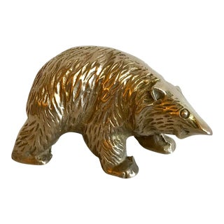 Vintage Mid Century Brass Bear Figurine Paperweight For Sale