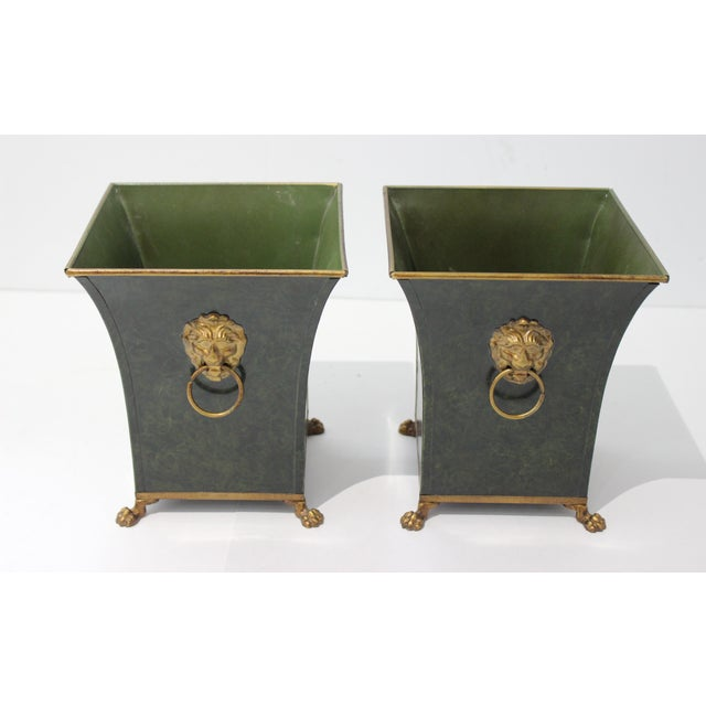 Vintage Dark Green Cachepot With Lion Handles - a Pair For Sale - Image 4 of 10