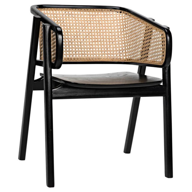 Modern & sleek charcoal black chair with bold caning.