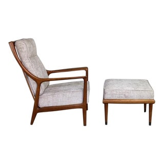 1960s Mid Century Modern Milo Baughman Reclining Chair and Ottoman - 2 Pieces For Sale