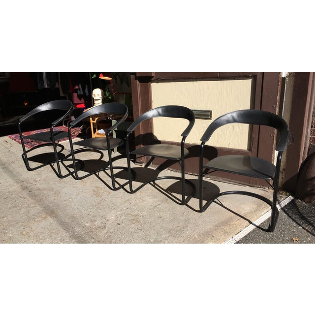 Stendig Mid Century Modern Leather Tubular Armchairs - Set of 4 For Sale - Image 10 of 10