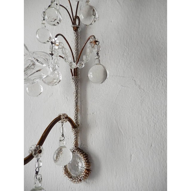 Crystal French Rare Micro Beaded Murano Balls Sconces, circa 1920 For Sale - Image 7 of 8