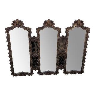 Vintage Hollywood Regency Triple Hanging Mirror For Sale