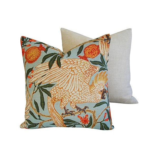 "20"" Colorful Tropical Parrot & Pomegranate Feather/Down Pillows - Pair - Image 6 of 8"
