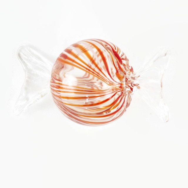 Orange Murano Style Glass Candy Paperweights - Set of 6 For Sale - Image 8 of 11