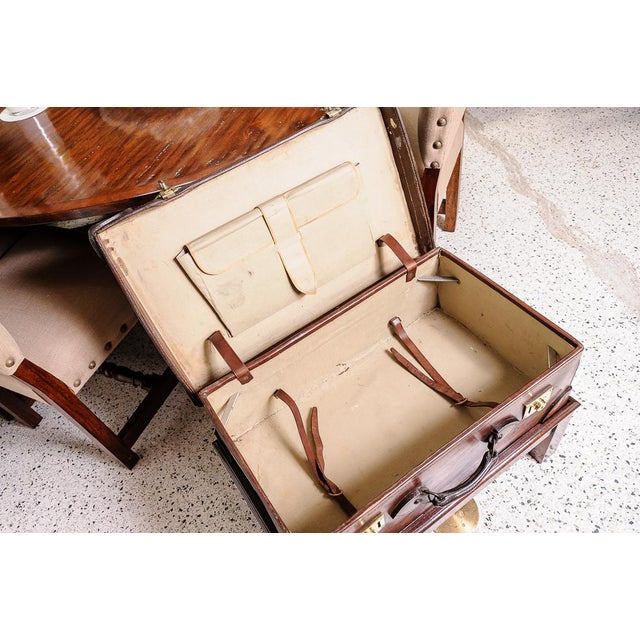 Animal Skin Leather trunk on stand For Sale - Image 7 of 11