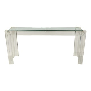 1970s Mid-Century Modern Lucite Console Table With Inset Glass Top For Sale